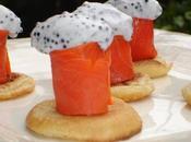 Bouchées saumon sauvage mousse d'oeufs lompe