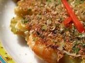Okonomiyaki mer, crêpe salée japonaise crevettes