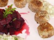 Boulettes boeuf hareng, sauce fenouil betteraves marinées