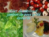 Filet cabillaud épinards jambon grillé