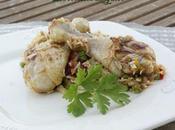 cuisses poulet riz, petits pois poivrons