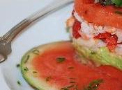Feuilletés pastèque, avocat, fraises crabe