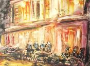 Terrasse café, nuit c'est titre voulais donner nouvelle aquarelle