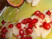 Notre entrée Noël Carpaccio Jacques fruits exotiques