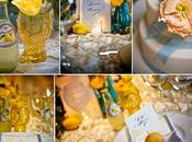 Décoration mariage thème citron tout doux…(peche, citron, bleu pastel)