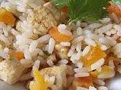 Salade riz, poulet abricots secs