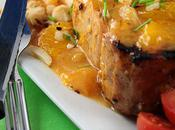 Côtelettes porc grillées, sauce mandarine noix macadam