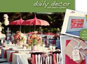 décoration table peche rouge verte