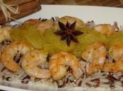 Crevettes flambées rhum sauce épicée l'ananas