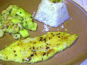 Filet Merlan pané accompagné crevettes courgettes....!