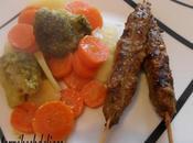 Brochettes viande hachée légumes