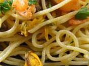 Spaghettis fruits crevettes