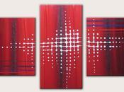 Tableau contemporain rouge pixel N°40