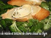 Salade mâche tartines chèvre chaud thym