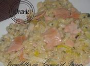 Coquillettes saumon poireau