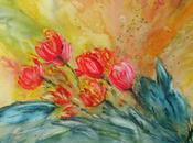 tulipes, fleurs Printemps Aquarelle