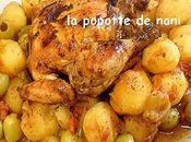 Papillotte coquelet herbes provence/pommes terre petits oignons, olives poivrons