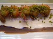 Brochettes gambas caramel d'orange croûte pistaches
