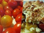 Crumble tomates cerises jaunes rouges gingembre frais