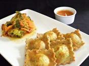 Ravioles pavot curcuma dinde chèvre frais, méli-mélo légumes l'indienne