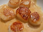 Coquilles Jacques snacké sauce cidre Seared scallops with cider