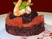 noir Vénéré lait coco, crevettes pamplemousse rose