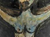 Vase balustre terre blanche décor engobes représentant Crucifixion Marc Chagall