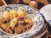 Lapereau rôti casserole, infusion céleri girolles
