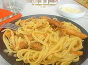 Fetuccini champignons escalope poulet caramelisés
