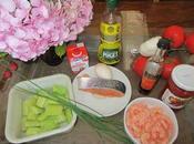 Gaspacho crevettes roses bavarois mirepoix légumes saumon cru, coulis pimientos