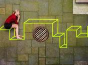 Entre Street Land Art, Aakash Nihalani travaille perspectives coup scotch fluo