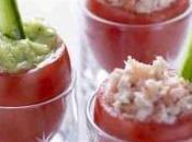 Tomates coque, mouillettes concombre