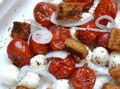 Mi-cuit tomates-mozzarella croûtons l'ail