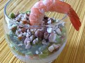 Verrine crème vanille, crevette purée d'avocat Vanilla cream, shrimp, avocado puree starter