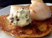 Blinis galettes patates douces Saint Jacques beurre d'algues