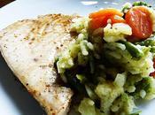 Espadon mariné, grillé risotto légumes bretons