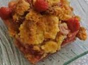 Crumble rhubarbe,bananes, framboises