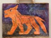 """""""Loup Orange"""", dessin crayon couleur papier recyclé."""