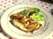 Tartine reblochon, pommes échalotes