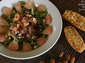 Salade boulghour, roquette, amandes agrumes avec tartare saumon