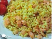 Coquillettes safranées crevettes saumon