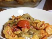 Gratin pâtes Gnocchis, artichauts, tomates bacon fumés