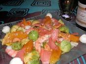 Salade fête crevettes, suprêmes d'orange, avocat noix cajou