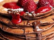 Pancakes cacao coulis framboises