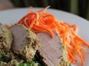 ~Filet porc citronnelle avec sauté quinoa salade carottes panais~