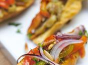 Bruschetta légumes grillés pignons parmesan
