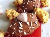 Ganache chocolat, crumble coco meringues framboise gelée rose Valentin}