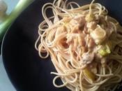 Spaghettis poireaux champignons