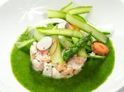 Ceviche sébaste saumon tagliatelles d'asperges vert
