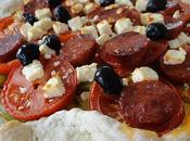 Pizza chorizo, avec pâte maison l'origan